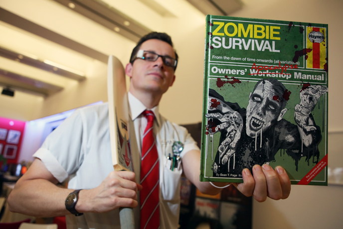 Sean, cunningly disguised as Shaun, with his invaluable guide (photo: Grace Elkin - www.graceelkinphotography.co.uk)